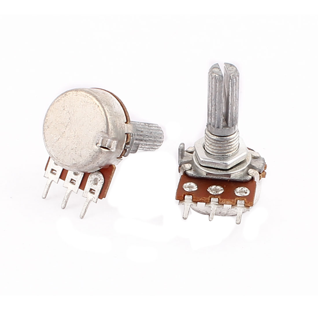2 Pcs B50K 50K Ohm 3 Terminals B Type Rotary Potentiometer w Spacers 29 x 16mm