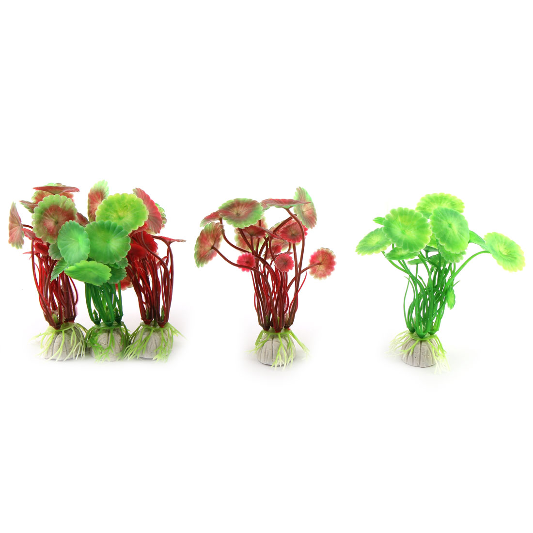 Aquarium Decor Plastic Emulational Water Plants Green Red 10cm Height 5 Pcs
