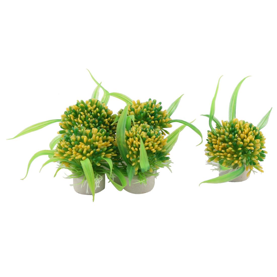 Ceramic Base Plastic Aquarium Ornament Artificial Plant Green Yellow 5 Pcs