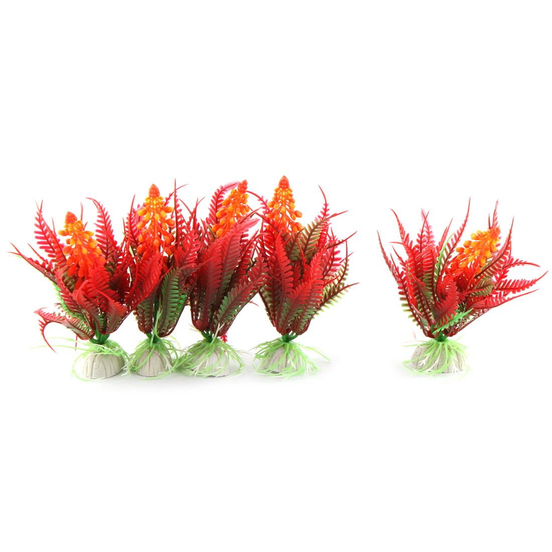 Aquarium Decor Plastic Emulational Artificial Water Plants Green Red 5 Pcs