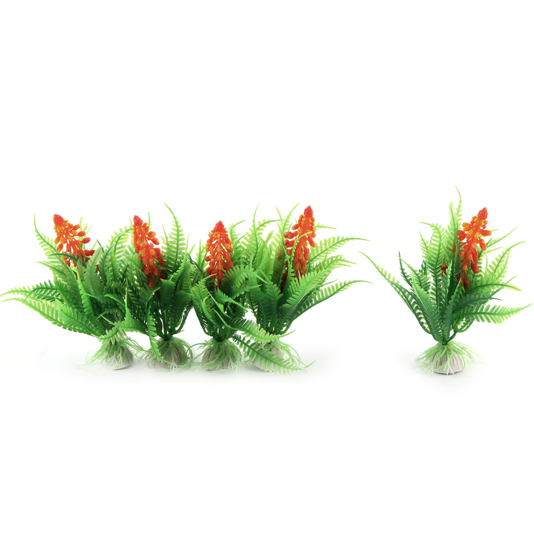 Aquarium Fish Tank Ornament Plastic Artificial Water Plants Green Orange 5 Pcs