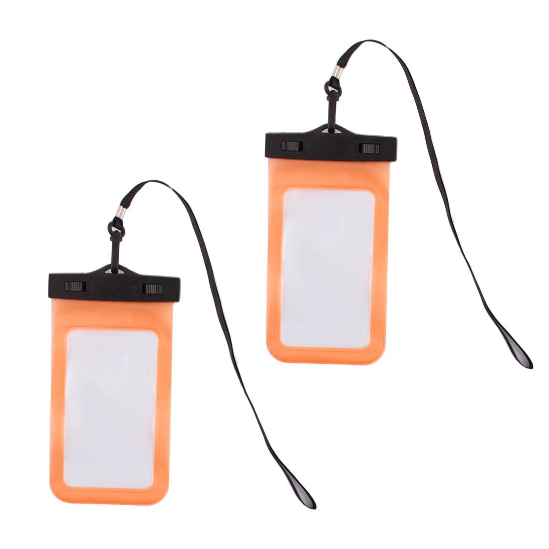 Smart Phone PVC Water Resistant Protector Bag Holder Pouch Orange 2 Pcs