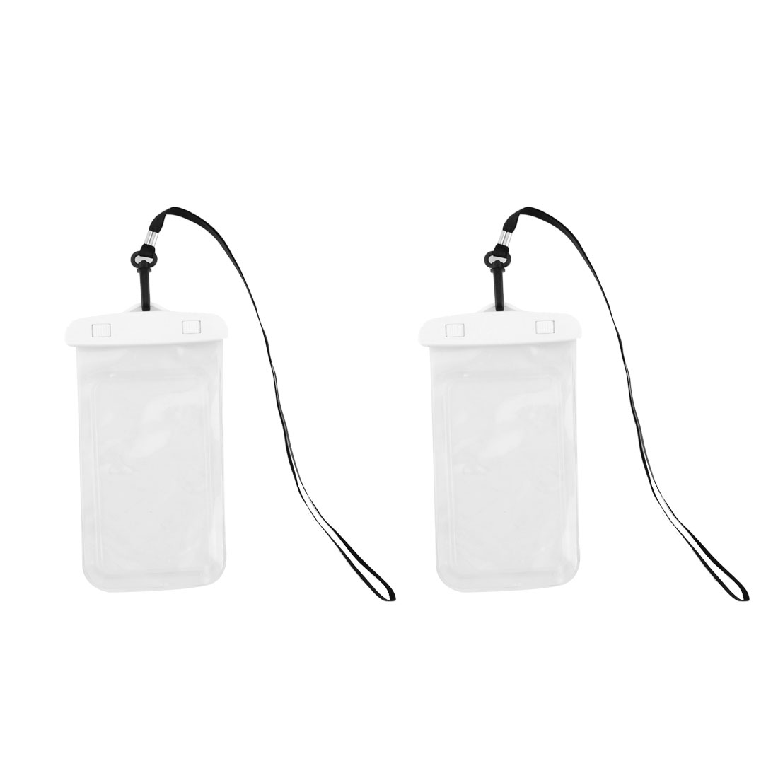 Phone PVC Water Resistant Dust Snow Proof Bag Holder Pouch White 2 Pcs