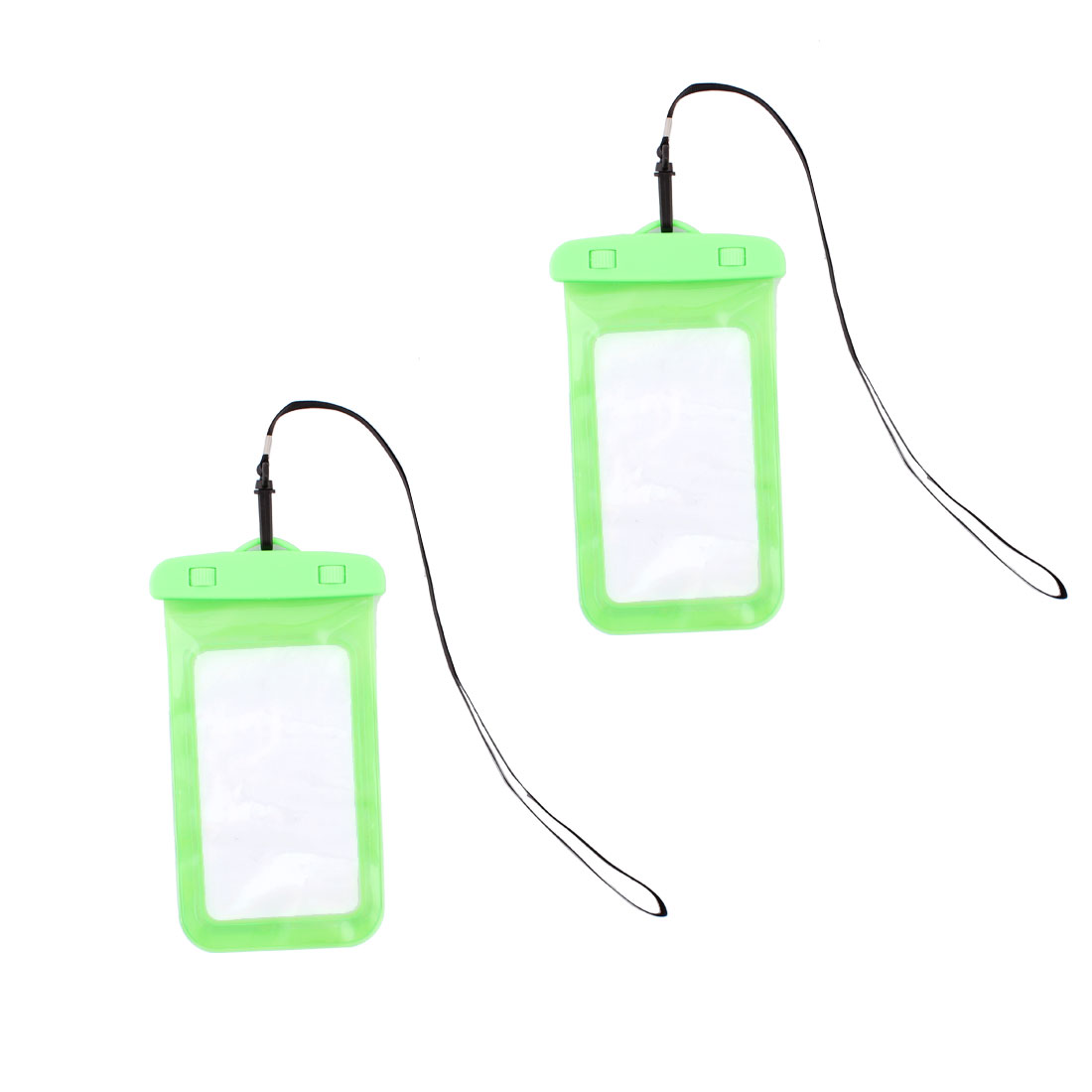 Smart Phone PVC Water Resistant Snow Proof Bag Protector Pouch Green 2 Pcs