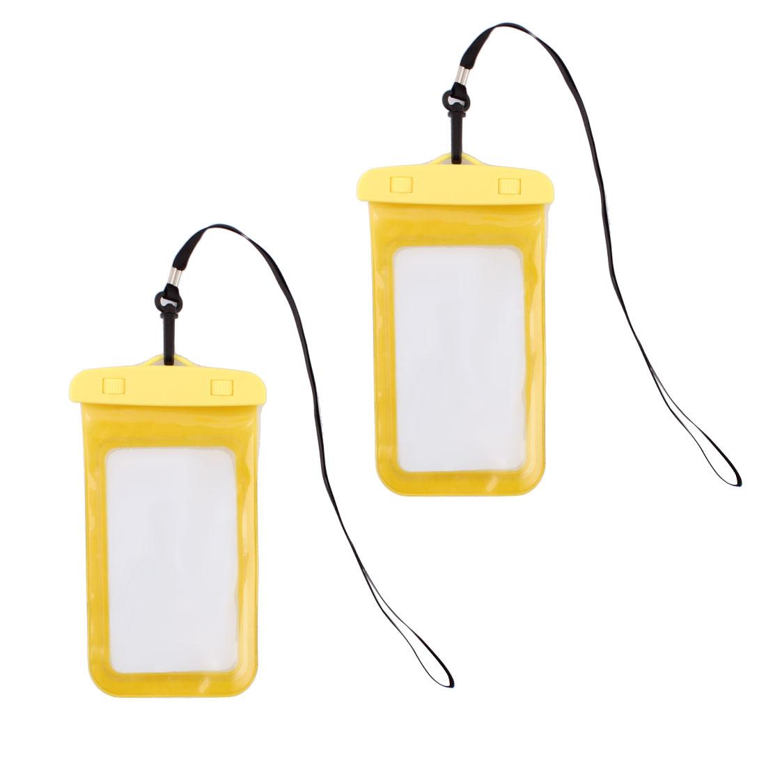 Phone Digital Camera PVC Water Resistant Snow Proof Bag Yellow 2 Pcs