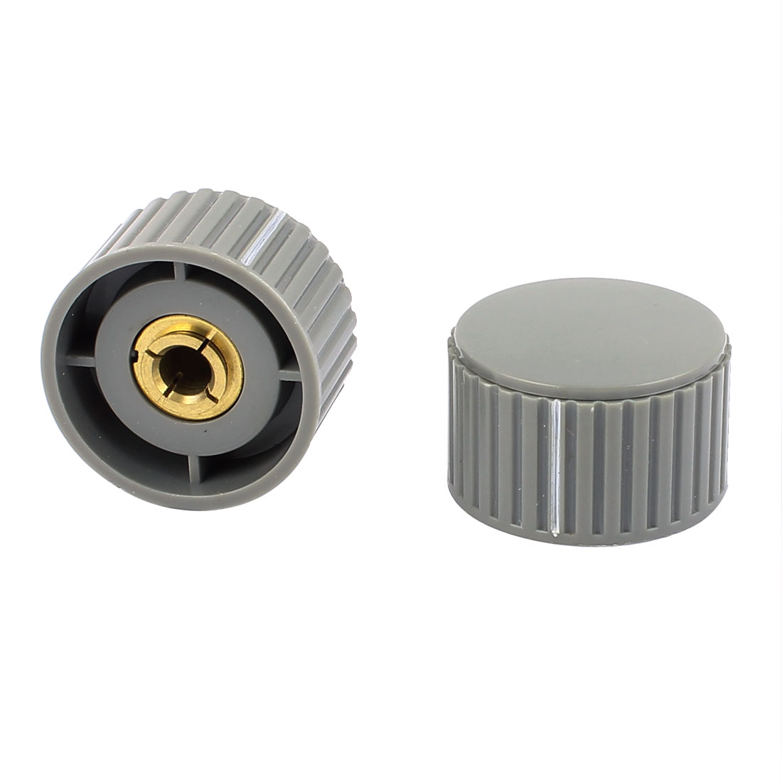 2 Pcs 32 x 19mm Gray Bakelite Knob Cap Control Rotary Switch for Potentiometer