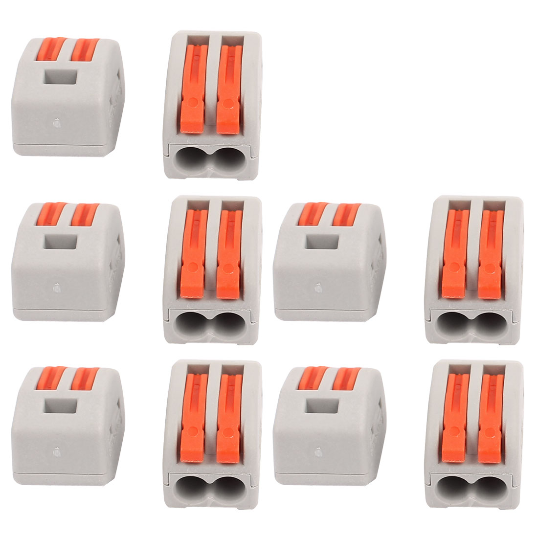 10 Pcs AC 250V 20A Lever Lock Clamp 2 Pins 2 Ports Terminal Block 0.75-2.5mm2 Orange