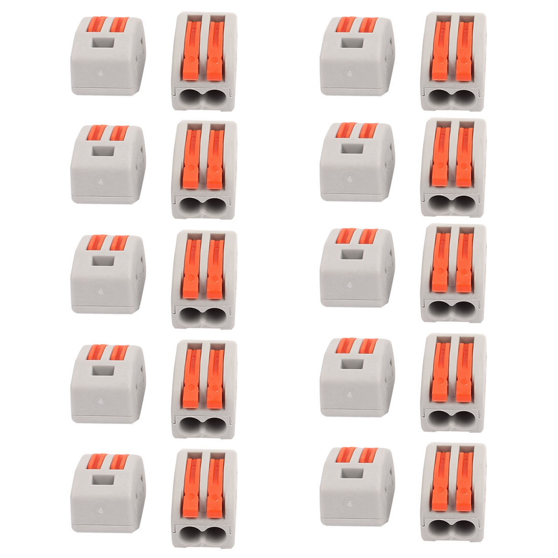 20 Pcs AC 250V 20A Lever Lock Clamp 2 Pins 2 Ports Terminal Block 0.75-2.5mm2 Orange