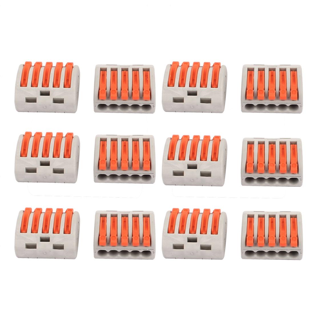 12 Pcs AC 250V 20A Lever Lock Clamp 5 Pins 5 Ports Terminal Block 0.75-2.5mm2 PCT-215 Orange