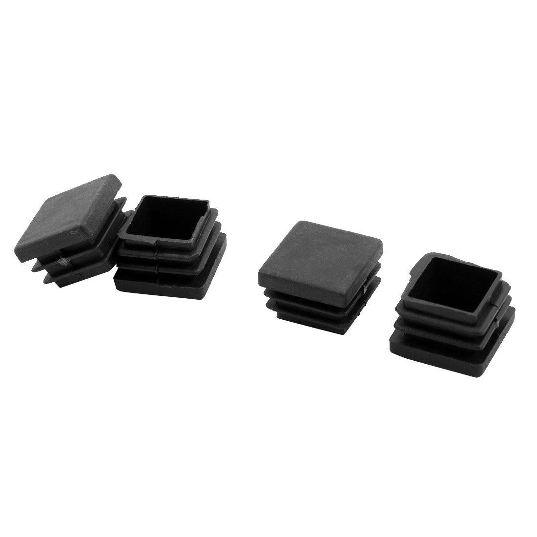 Home Square Shape Furniture Chair Feet Tube Inserts End Blanking Cap Black 4 Pcs