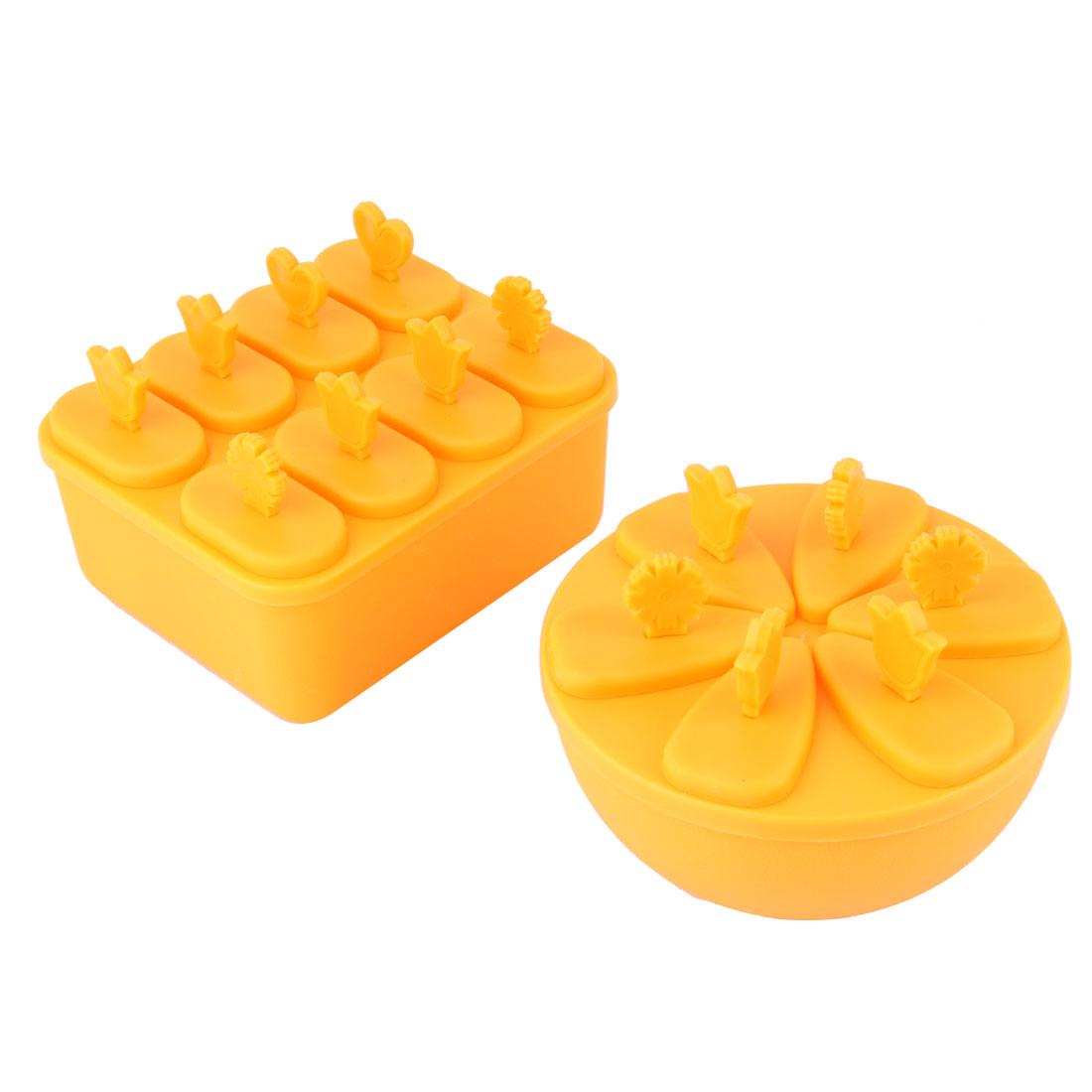 Household Home Kitchen DIY Refrigerator Plastic Ice Cream Mold Orange 2 in 1