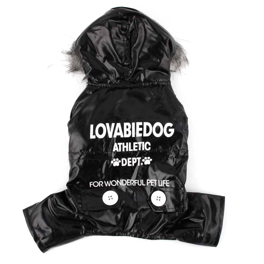 Pet Dog Doggy Winter Cotton Blends Clothes Coat Black Gray