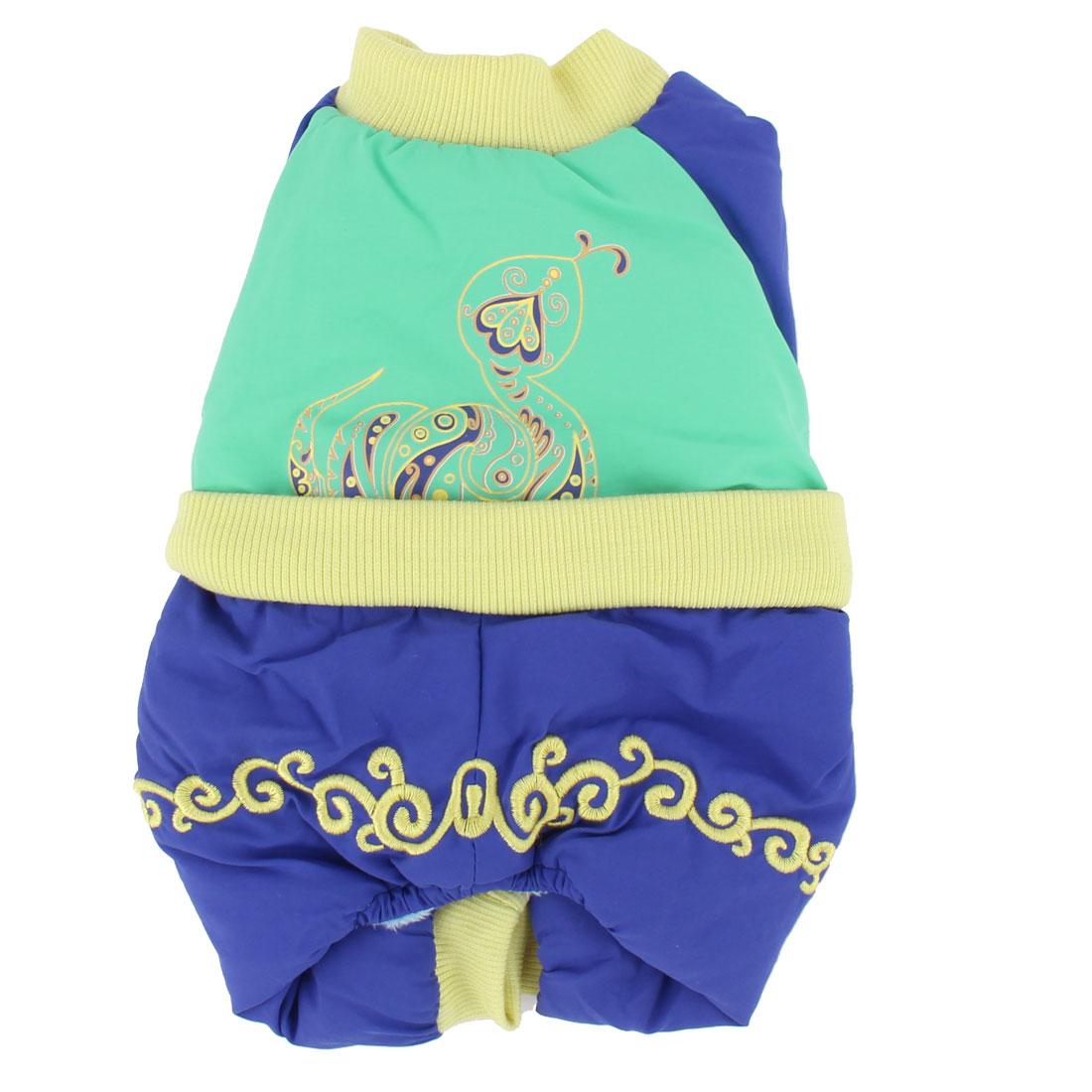 Pet Dog Doggy Cotton Blends Clothes Skirt Coat Dark Blue Green