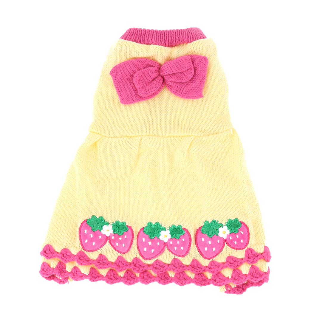 Pet Dog Doggy Cotton Blends Strawberry Pattern Clothes Sweater Yellow Fuchsia