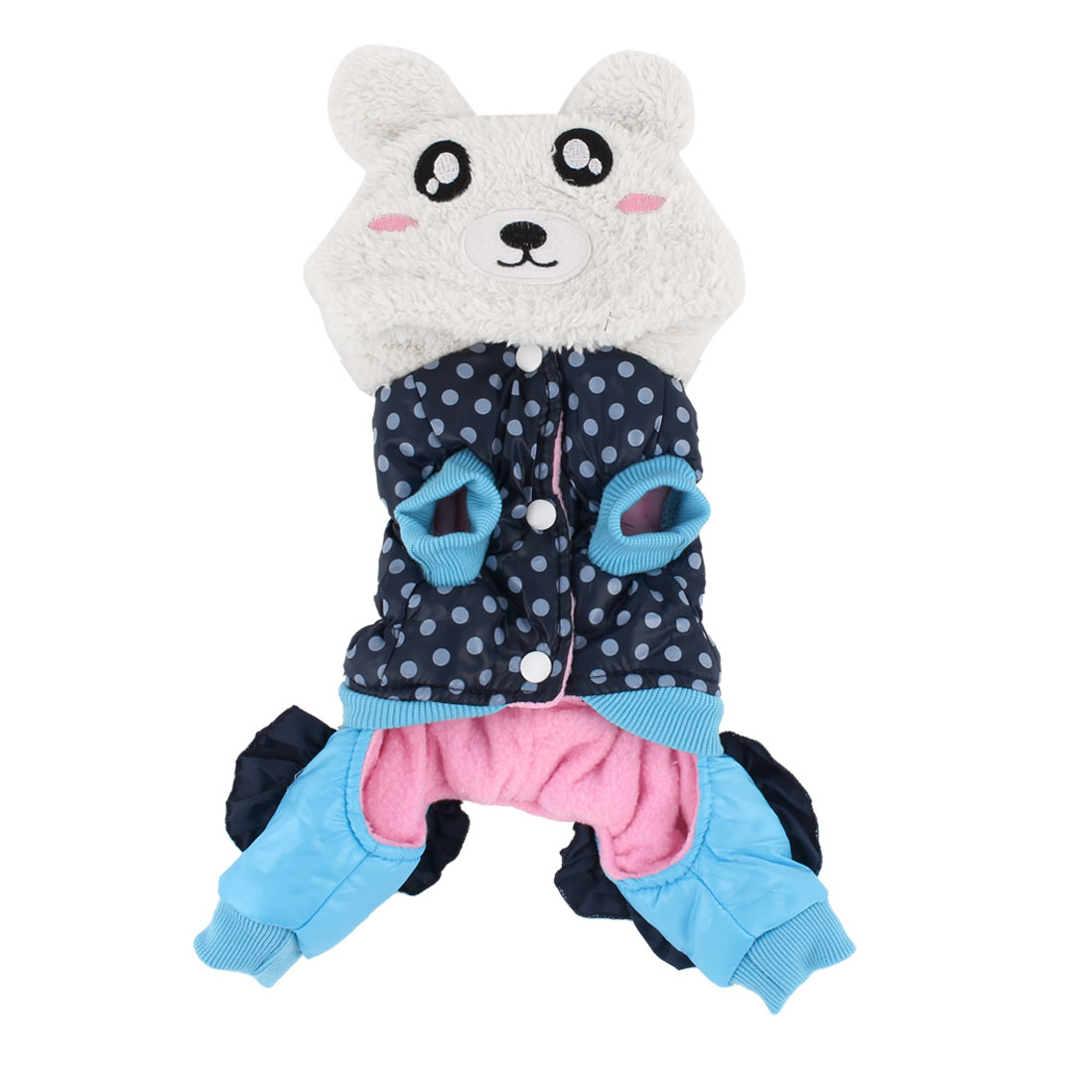 Pet Dog Doggy Winter Cotton Blends Panda Shaped Clothes Coat Dark Blue White