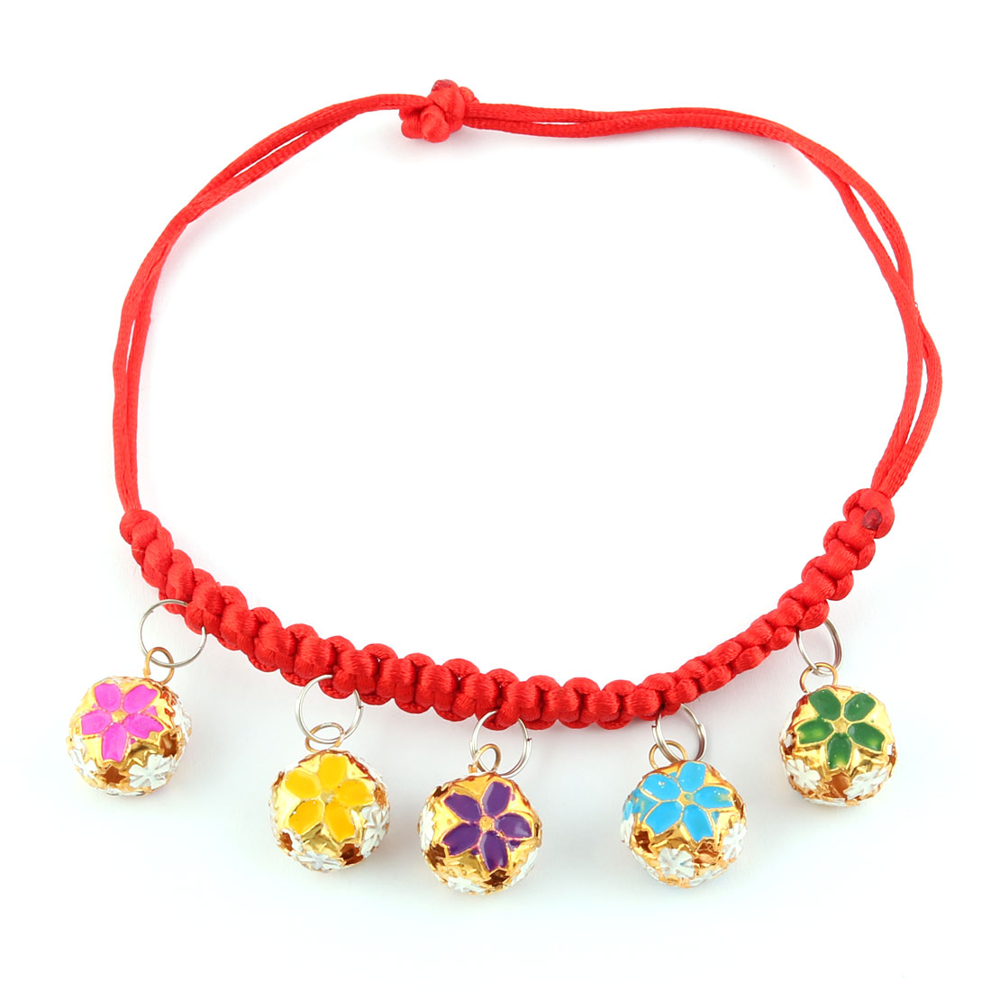 Pet Dog Cat Nylon Frabic Braided String Bell Pendent Adjustable Collar Red