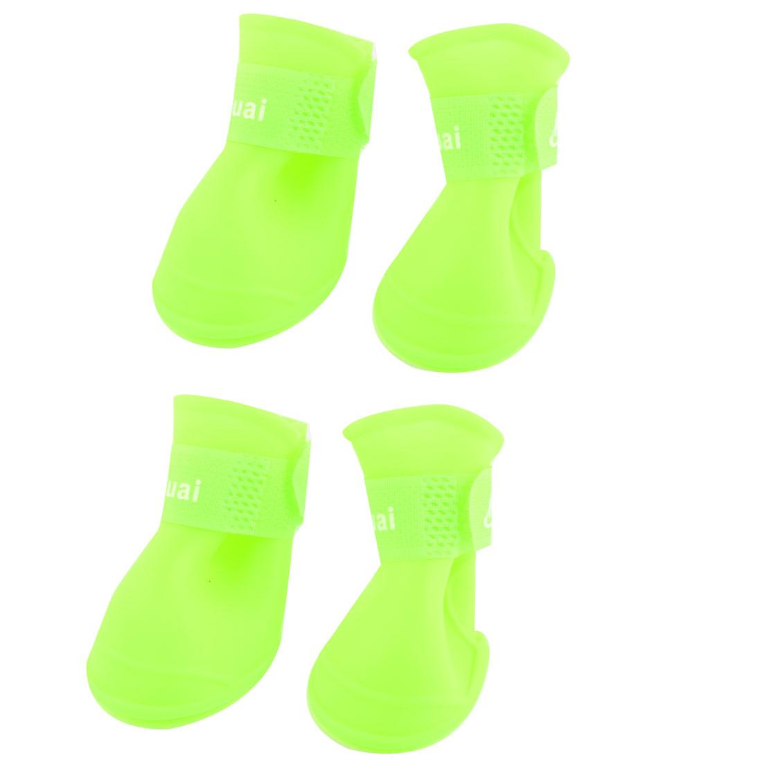 4pcs Rubber Hook Loop Closure Water Resistant Animal Pet Dog Shoes Foot Protector Yellow