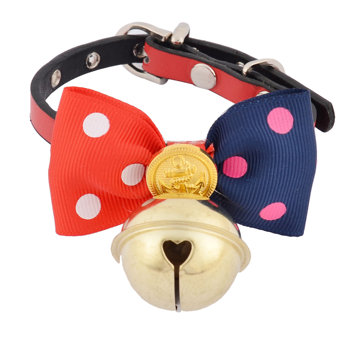 Faux Leather Bowknot Shaped Metal Bell Pendent Pet Doggy Dog Collar Red Gold Tone
