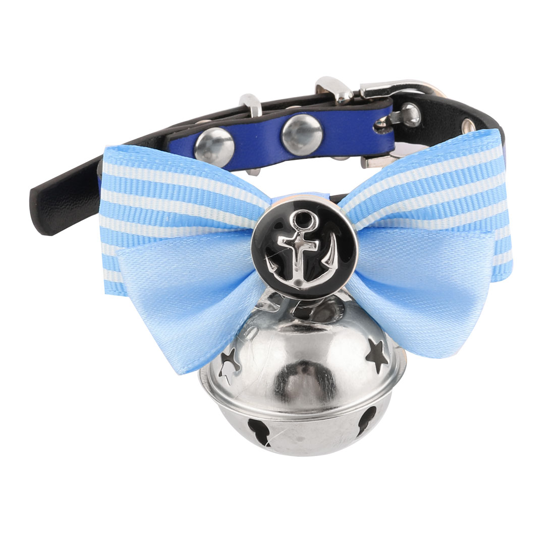 Faux Leather Bowknot Shaped Metal Bell Pendent Pet Dog Cat Collar Blue Silver Tone