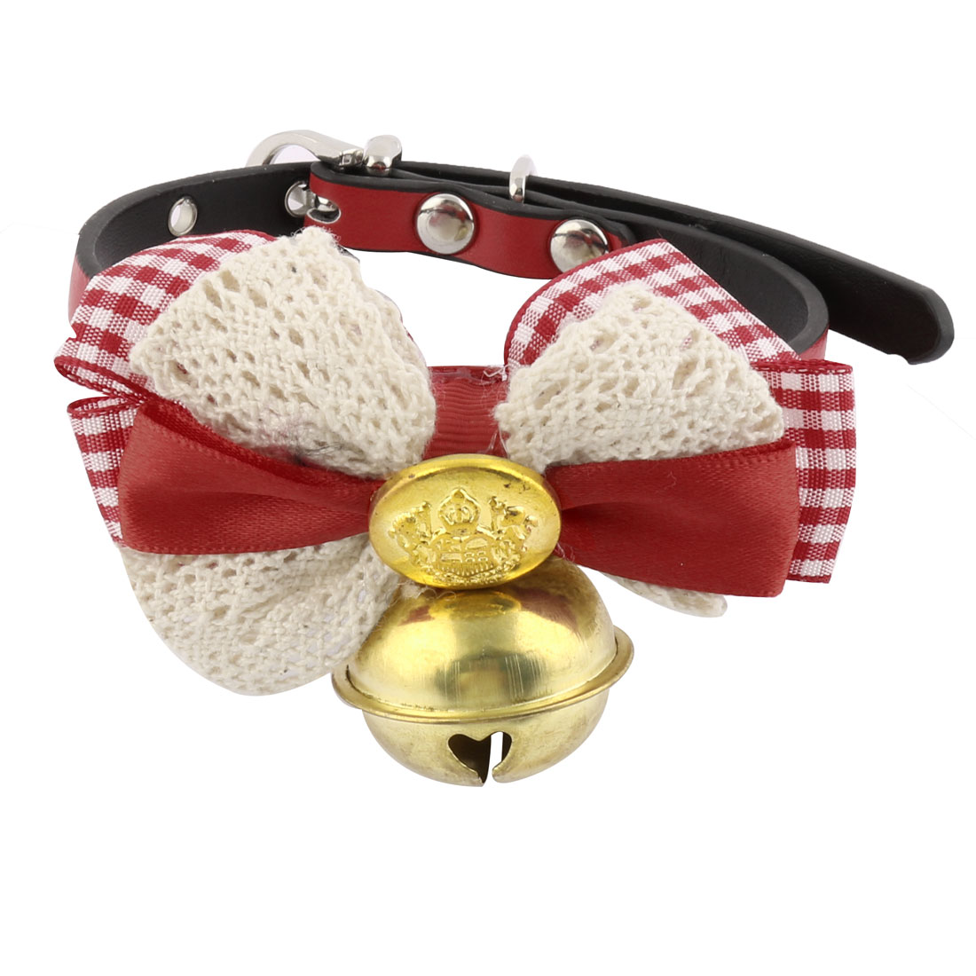 Faux Leather Bowknot Shaped Metal Bell Pendent Animal Pet Dog Cat Collar Red Gold Tone