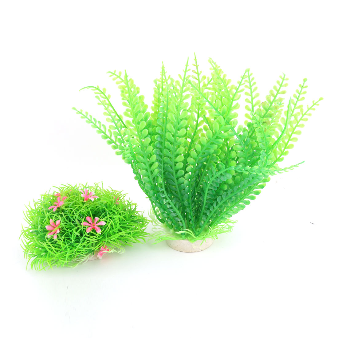 Aquarium Ceramic Base Plastic Plant Grass Decoration Green Pink 2 in 1