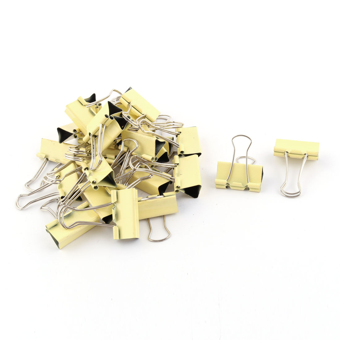 School Office Metal Test Paper File Organizer Binder Clips Yellow 28 Pcs