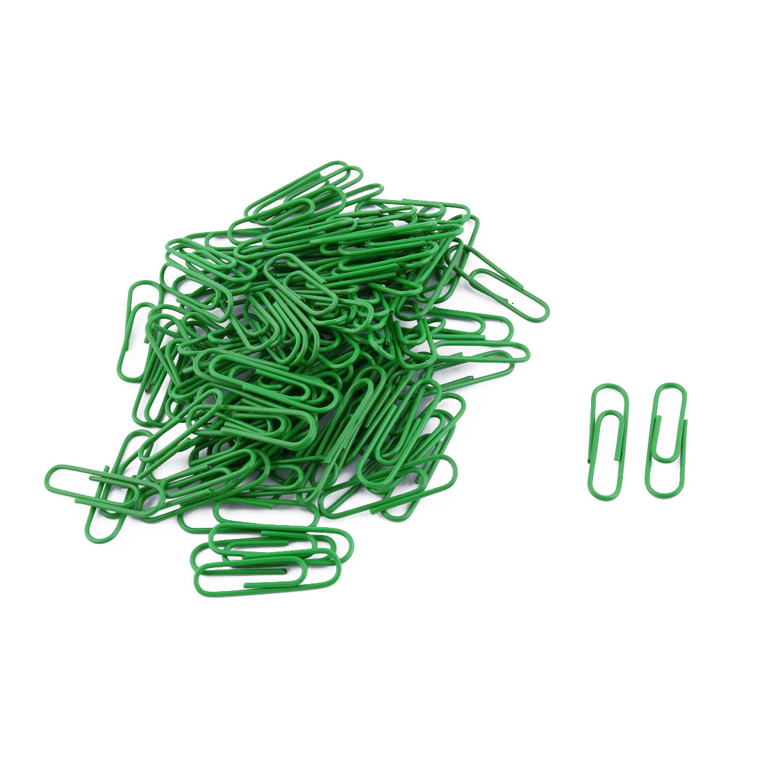 Officer Plastic Coated Metal Label Bookmark Paper Clips Clamps Green 105 Pcs
