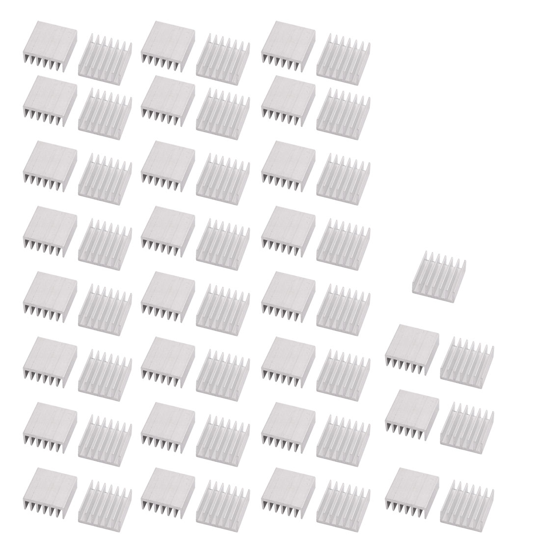 55Pcs 14x14x6mm Aluminium Heats Dissipate Cooling Fin Cooler Silver Tone