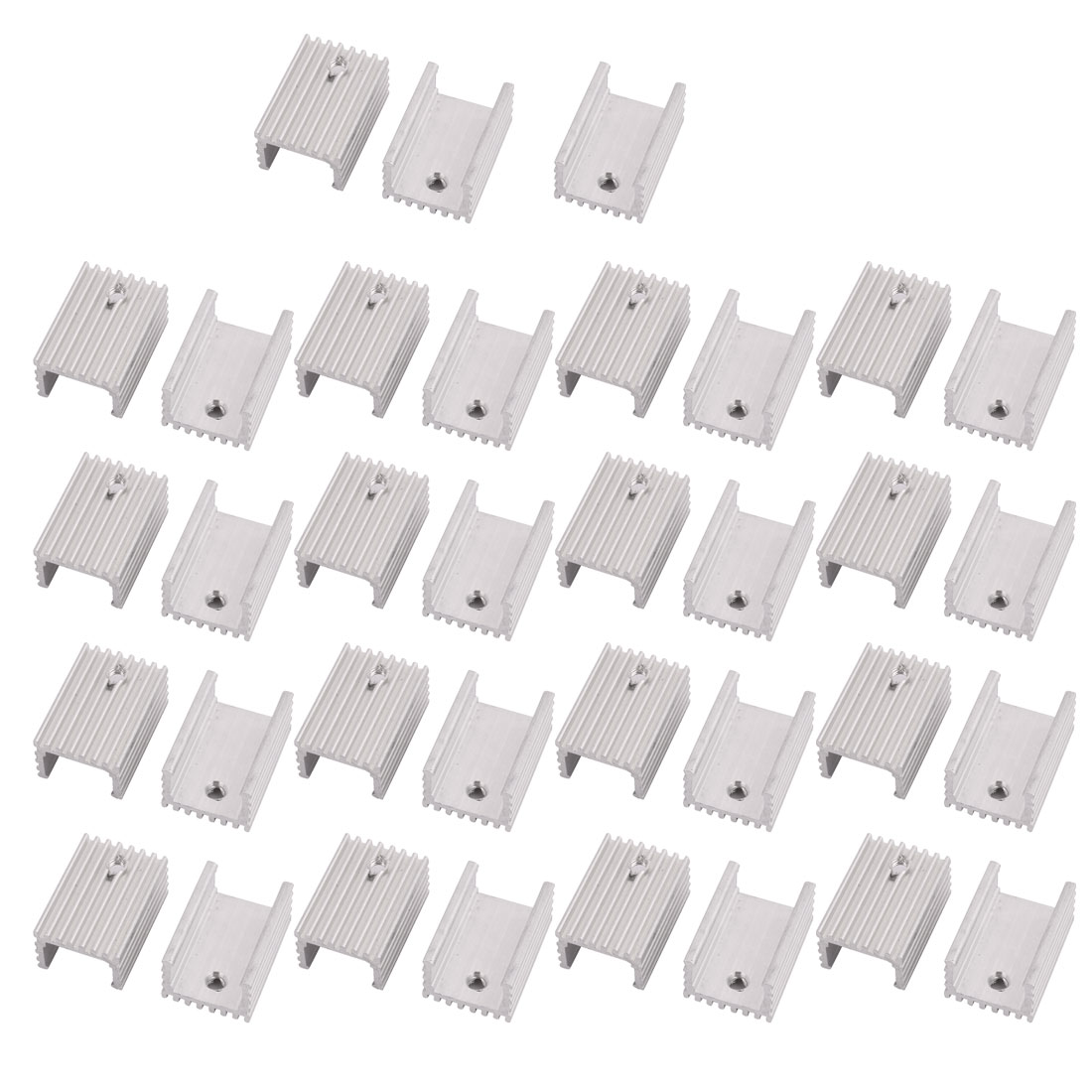 35Pcs Aluminum Screw Mount Heat Sink Cooling Fin Heatsink Silver Tone 15x10x22mm