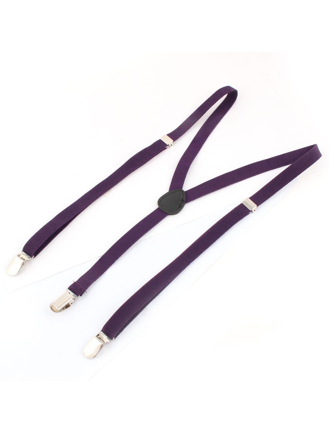 Elastic Fabric Y Shaped Adjustable 3 Clip Galluses Pants Suspender Braces Dark Purple