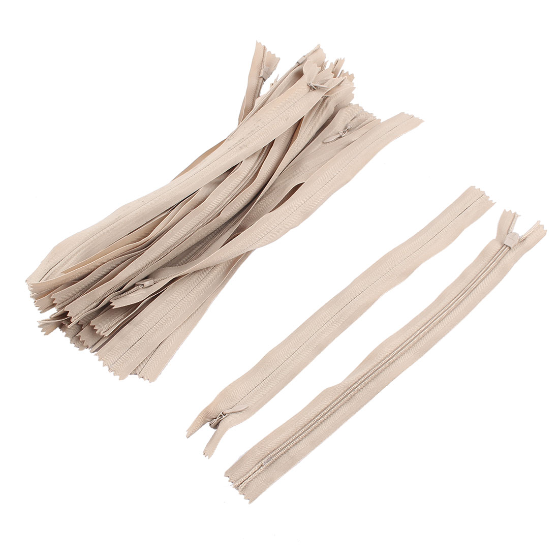 Sewing Oval Pull Tab Invisible Style Clothing Trousers Zipper Tan 25cm Length 24pcs