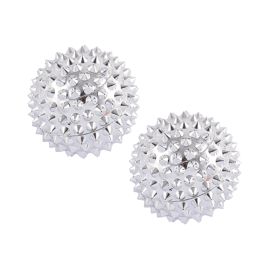 2pcs 32mm Diameter Silver Tone Spiky Magnetic Hand Palm Acupuncture Balls Needle Massage