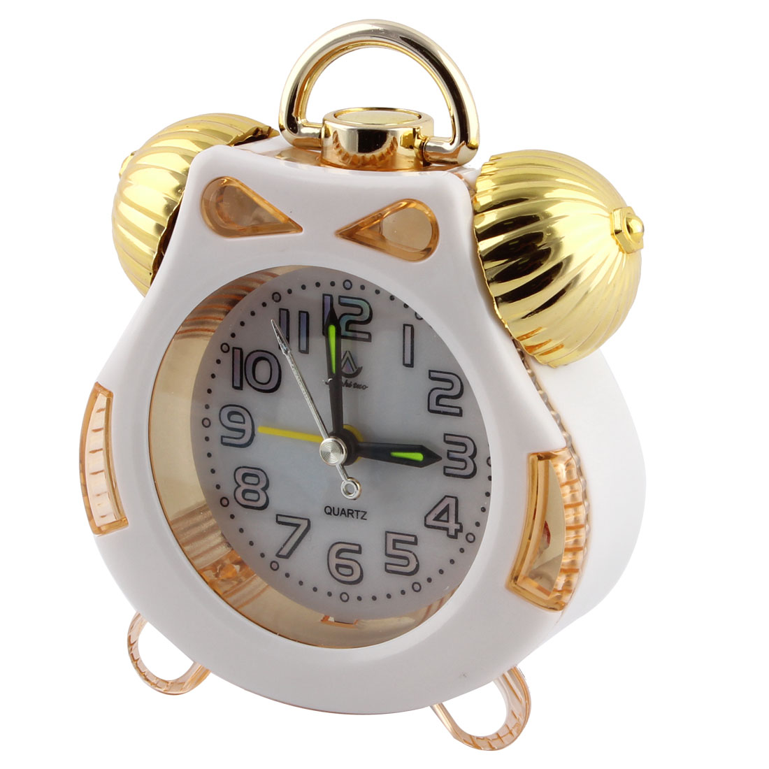 Plastic Battery Powered Quartz Timing Bell Hanging Alarm Clock for Bedroom