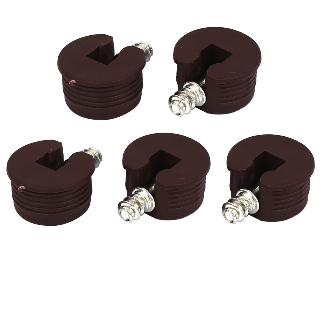 Round Shape Brown Plastic Two-in-One Screw in Shelf Support Pin 5pcs for Furniture