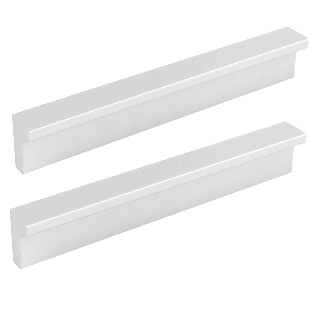 Furniture Cabinet Drawer Aluminum Alloy Pull Bar Handle 96mm Silver Tone 2pcs