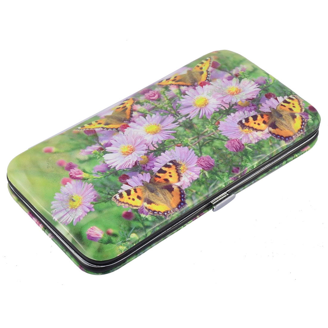14 in 1 Flower Pattern Case Manicure Nail Clipper Cuticle Grooming Kit Set Green