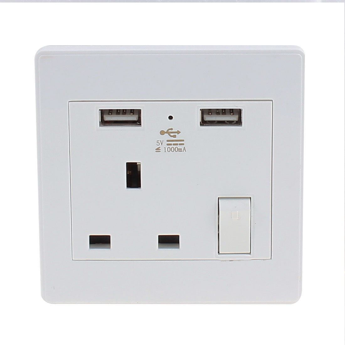 AC 110V-250V UK Socket 2 USB Port 5VDC 1000mA Charger Power LED Lamp Switch Wall Outlet
