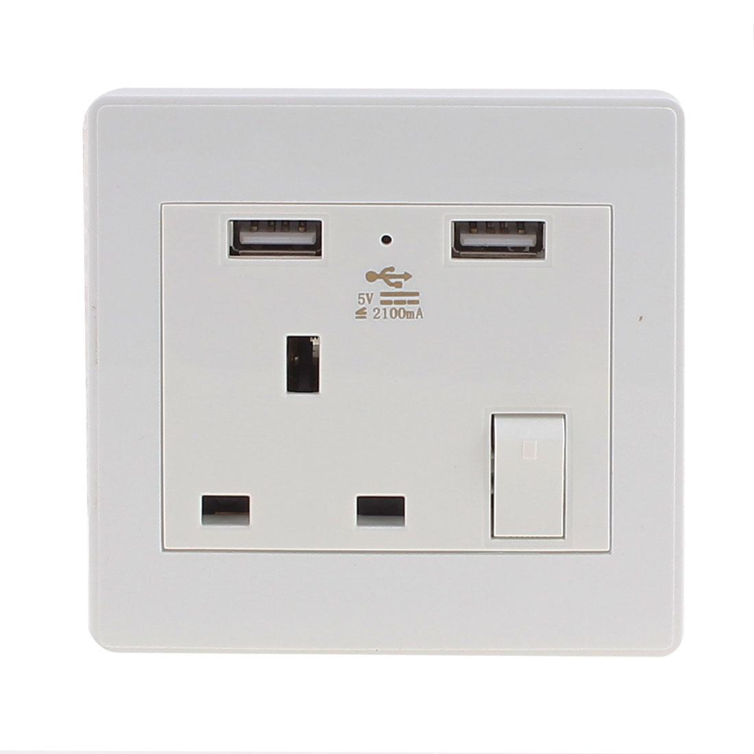AC 110V-250V UK Socket 2 USB Port 5VDC 2100mA Charger Power LED Lamp Switch Wall Outlet