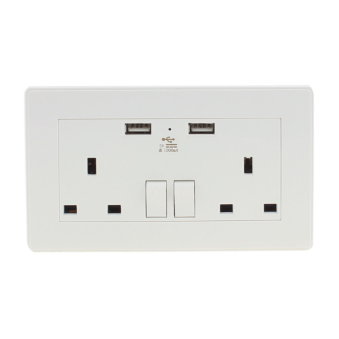 Double AC 110V-250V UK Socket 2 USB Port 5VDC 1000mA Charger Charging Power Switch Wall Outlet