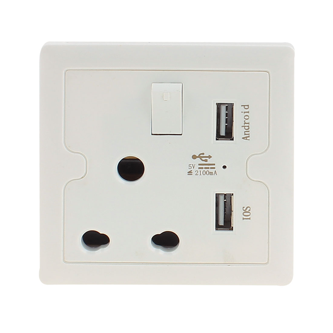 AC 110V-250V South Africa Socket 2 USB Port 5VDC 2100mA Charger Charging Power Switch Wall Outlet