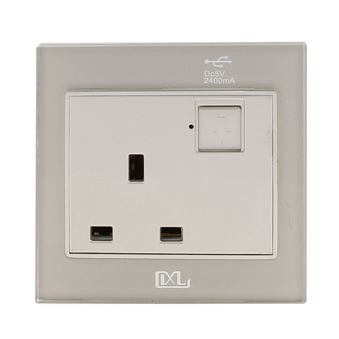 AC 110V-250V UK Socket 2 USB Port 5VDC 2400mA Charger Power LED Lamp Wall Outlet