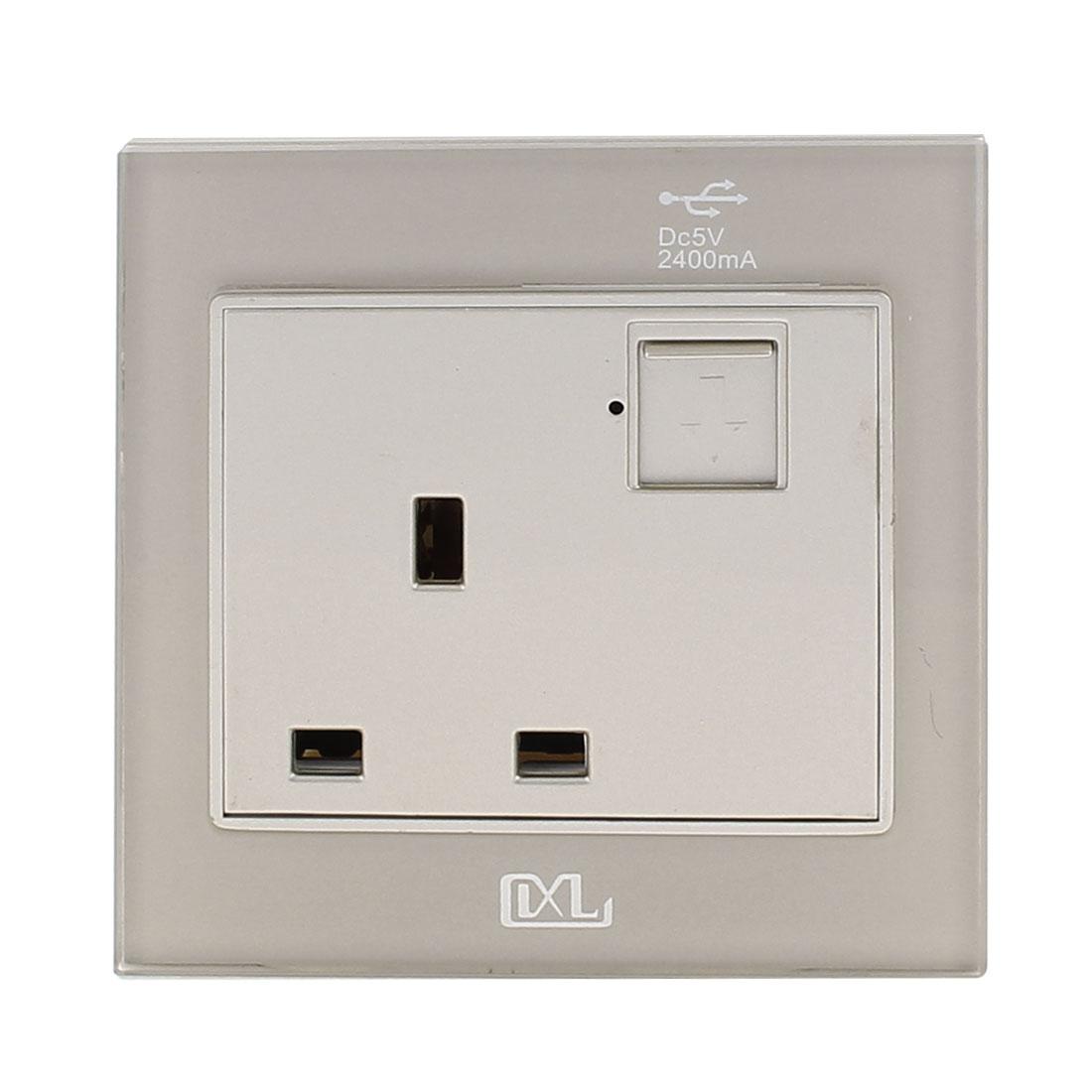 AC 110V-250V UK Socket 2 USB Port 5VDC 2400mA Charger Power LED Lamp Wall Outlet