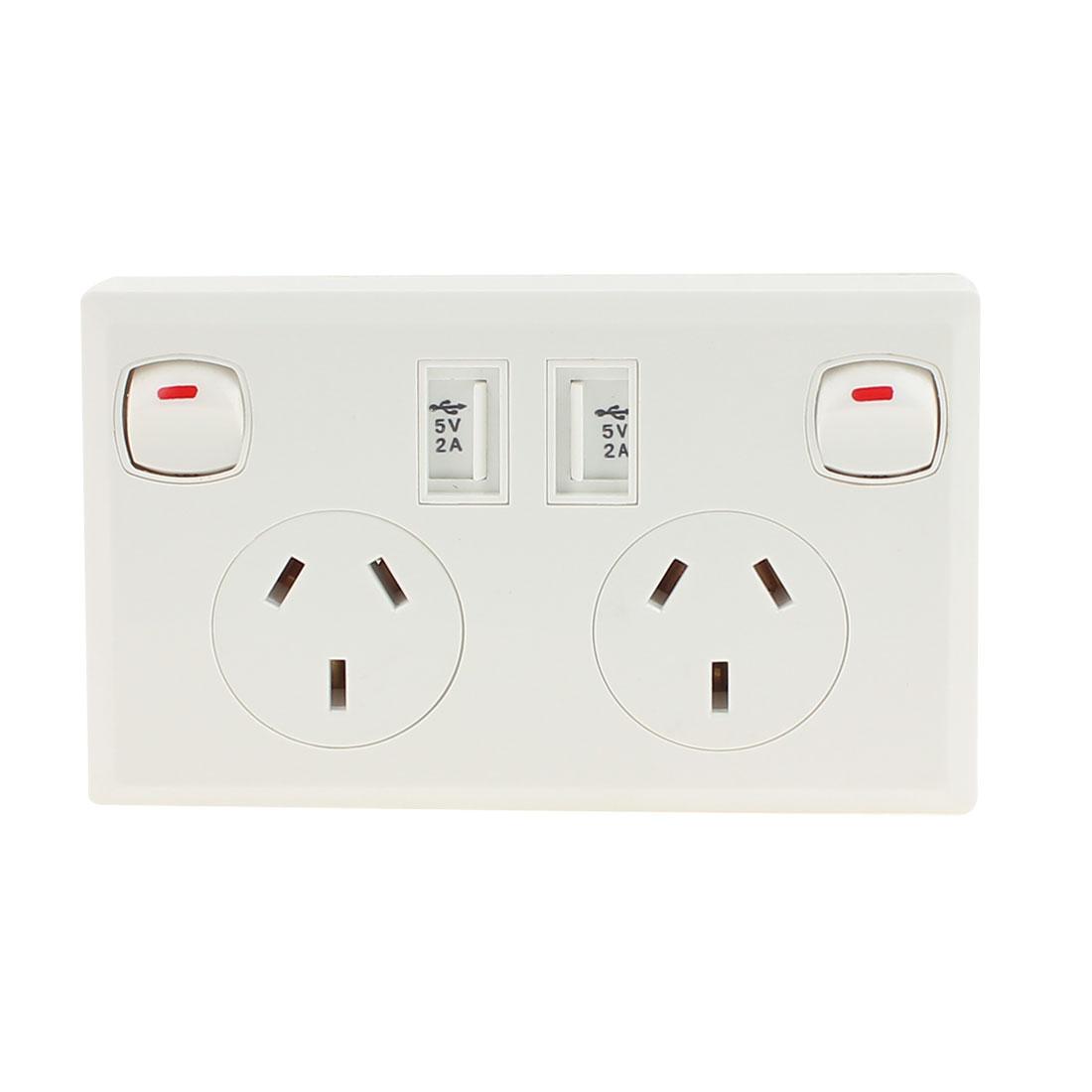 AC 90V-250V AU Socket 2 USB Port 5VDC 2000mA Charger Power Switch Wall Outlet