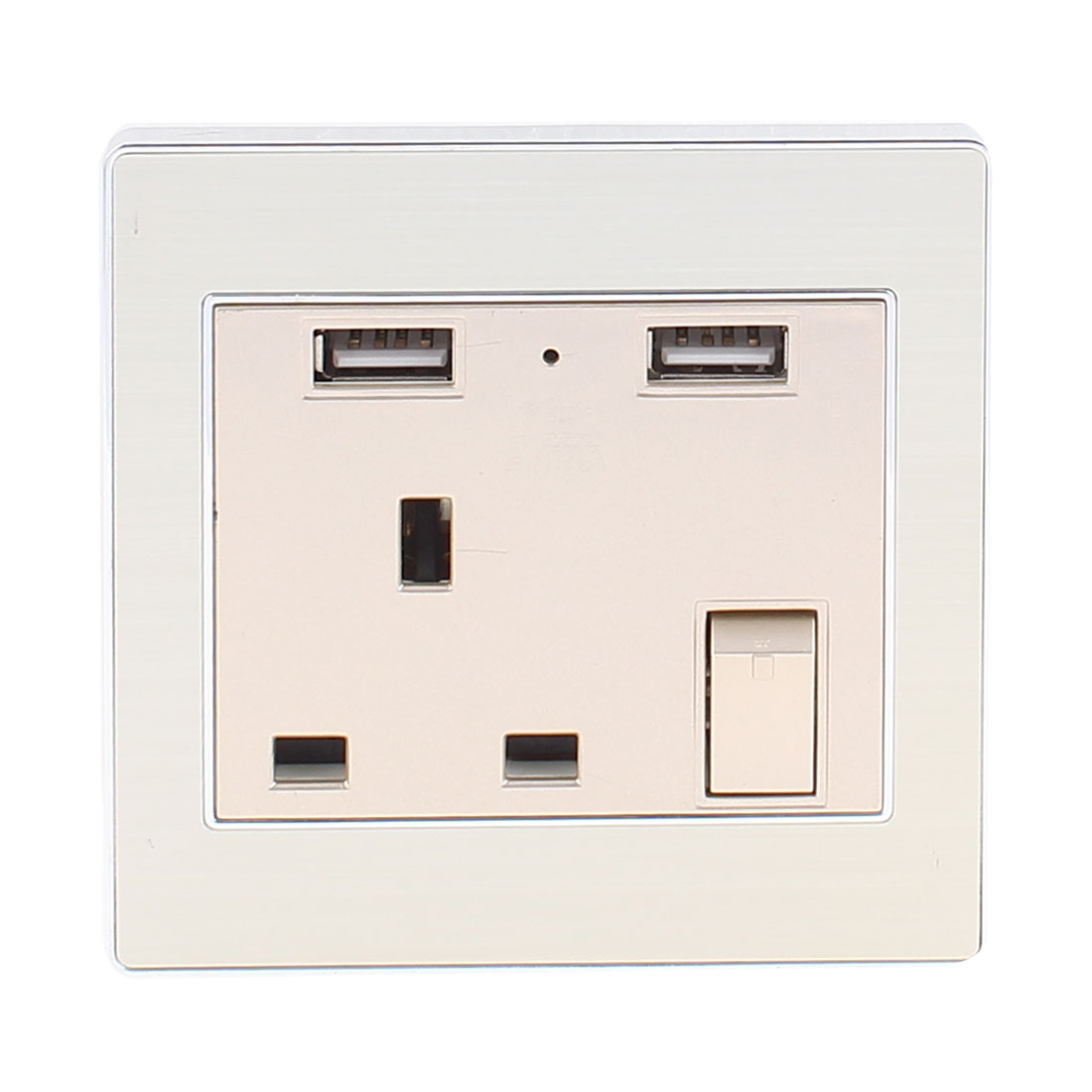 AC 110V-250V UK Socket 2 USB Port 5VDC 2100mA Charger Power LED Light Switch Wall Outlet
