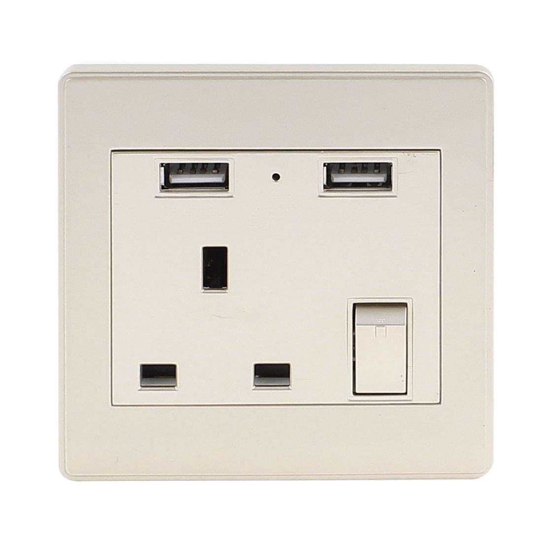 AC 110V-250V UK Socket 2 USB Port 5VDC 2100mA Charging LED Lamp Switch Wall Outlet