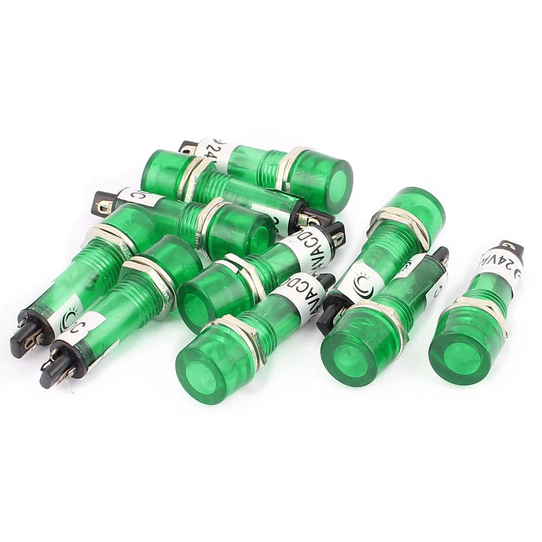 10 Pcs AC/DC 24V 2 Terminals Green Light Signal Threaded Indicator Lamp