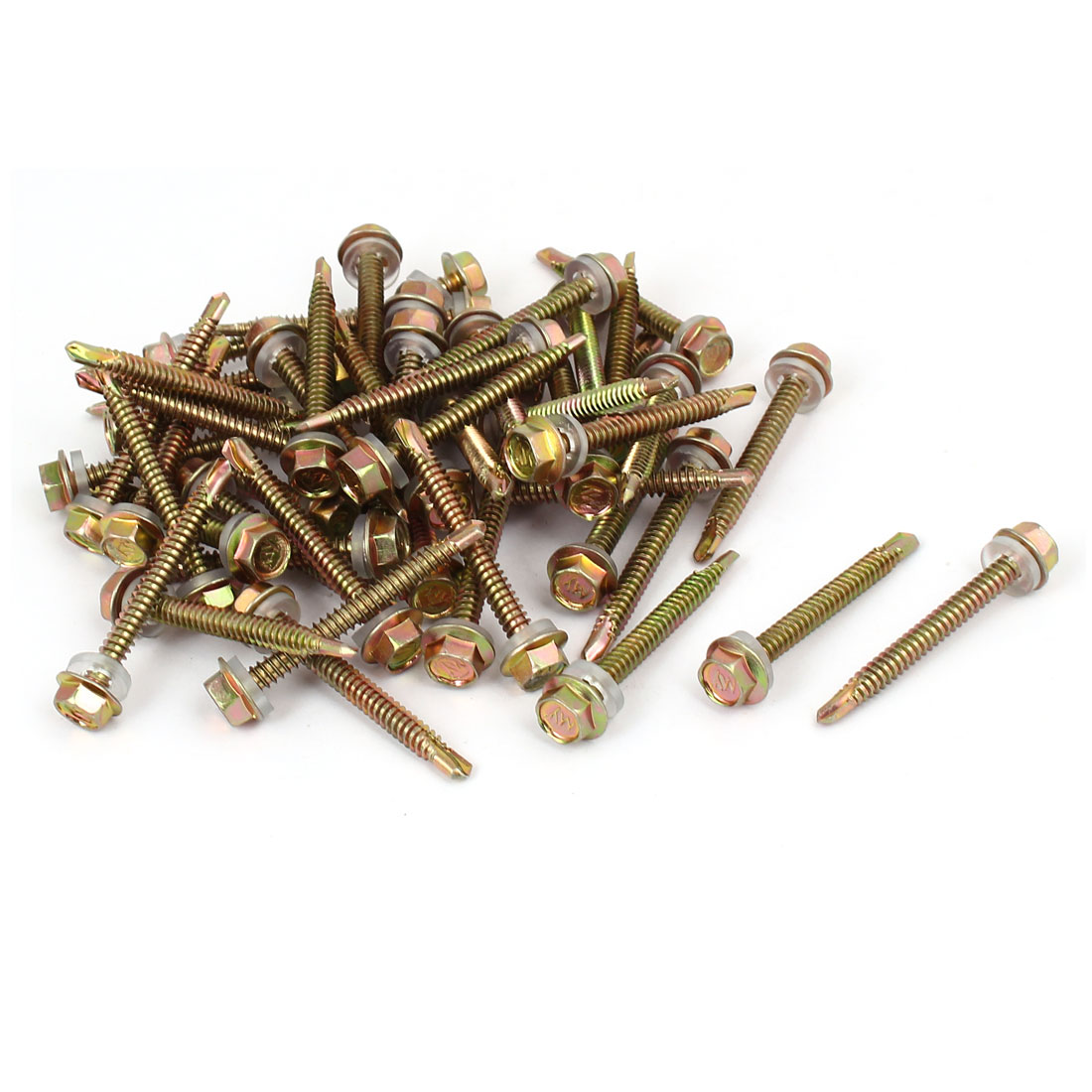 12#x2'' Hex Washer Head Self Tapping Drilling Screw Bolt Bronze Tone 50pcs