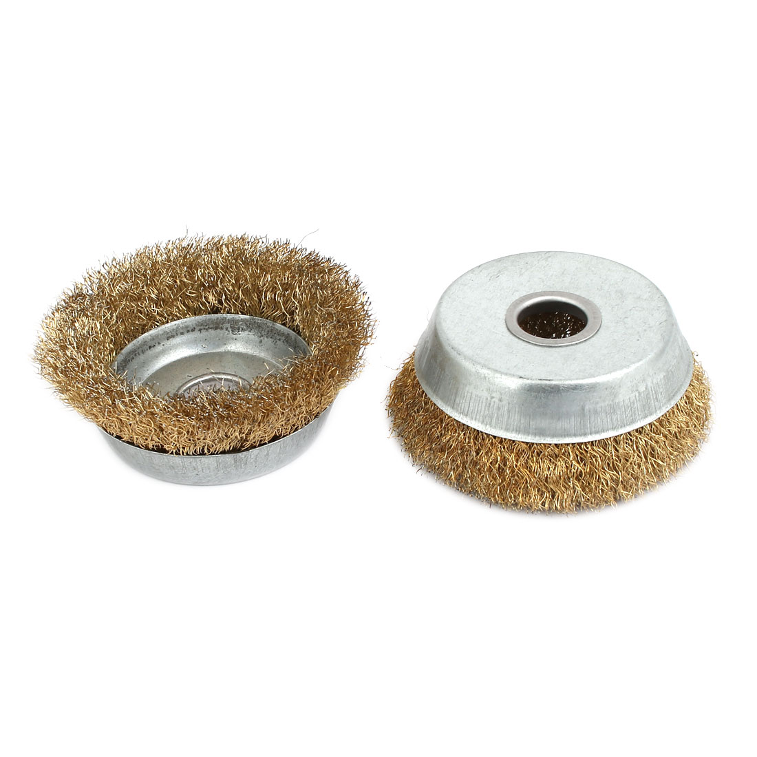 3-inch Dia Bronze Tone Polishing Wheel Buffing Tool Cup Wire Brush 2pcs