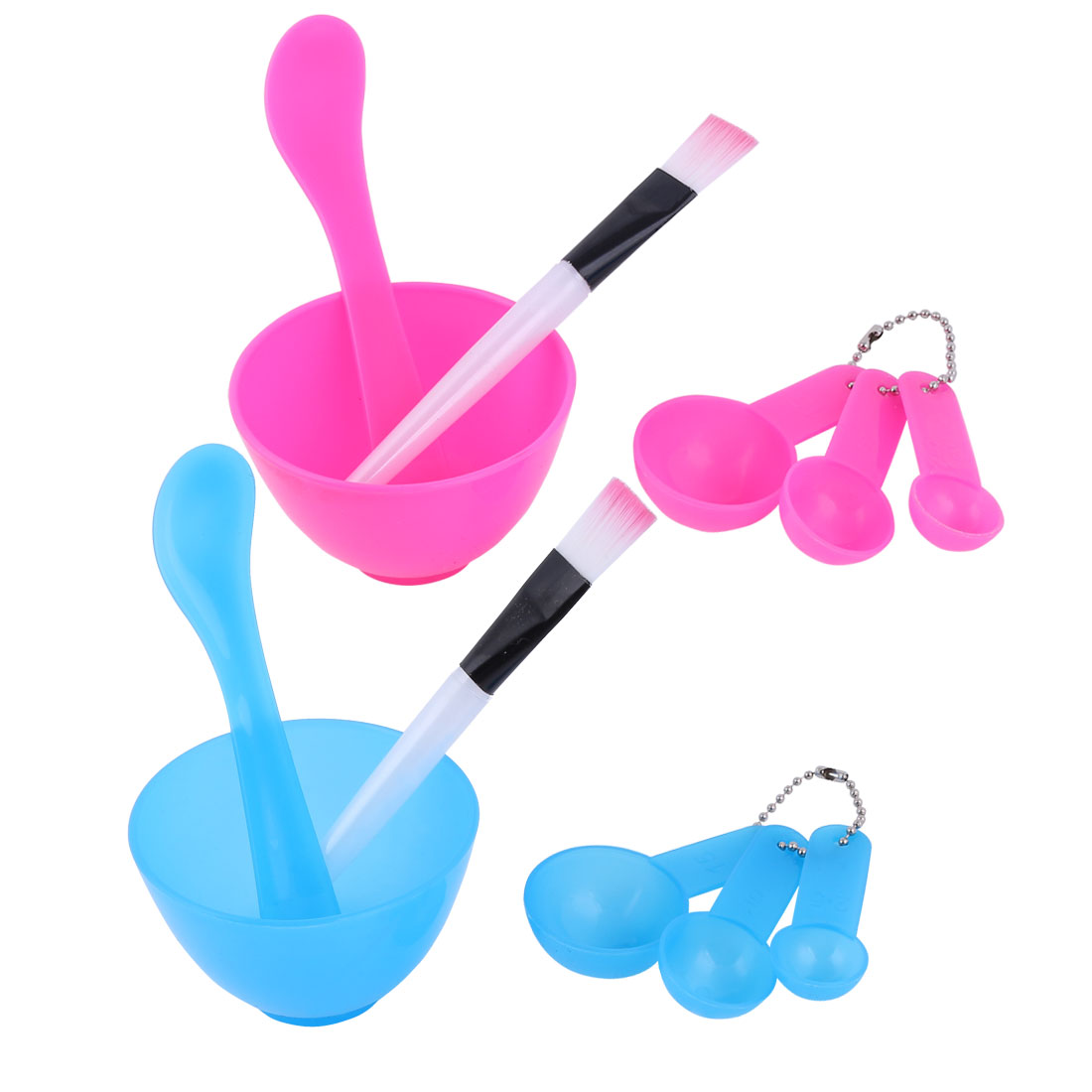 Lady Plastic Facial Mask Bowl Spoon Stick Brush Tool Kit Fuchsia Blue 2 Sets