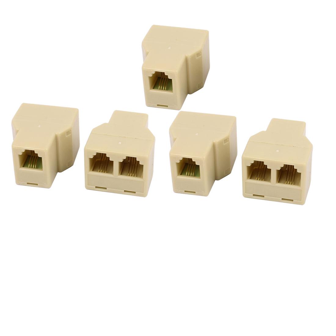 RJ11 4 Pins 1 Female to 2 Female Telephone Splitter Connector Adapter 5 Pcs